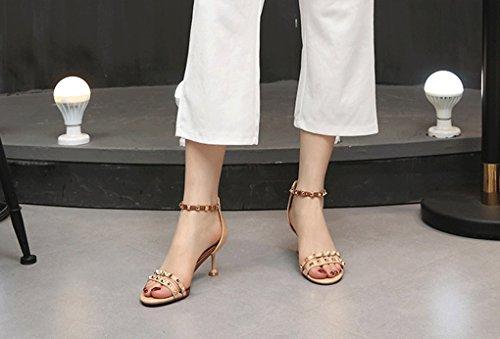 de Verano Tacón Femenina Sandalias Zapatos Versión de de Delgado Sandalias Remache Alto 3 Coreana Charol de Tacón 1O5gq