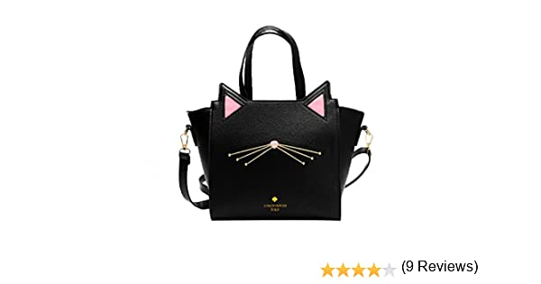 Rawdah Bolso de gran capacidad de mujeres encantadoras del o/ído del gato bolsa de hombro bolso Negro