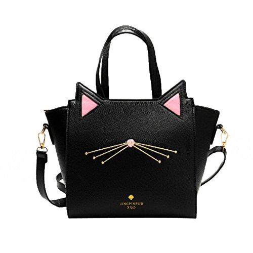 encantadoras del de de de mujeres capacidad bolso bolsa del gran Bolso hombro gato Rawdah Negro oído wF7zqYY