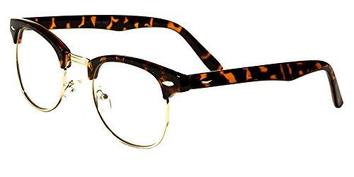 VW Eyewear - Classic Half Rim Round Reading Glasses Black Tortoise Reader (+2.50, Tortoise-Clear lens)