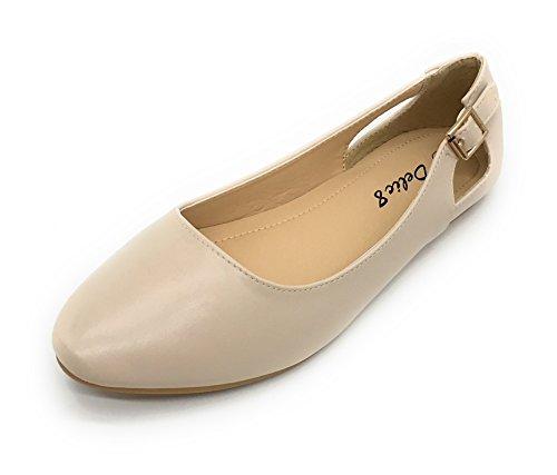Blue Berry EASY21 Damen Casual Flats Ballett Mode Schuhe Kunstleder Nude05