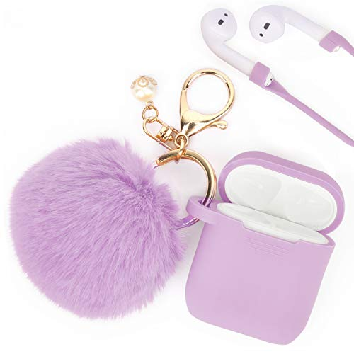 Airpods Case - Filoto Airpods Silicone Glittery Cute Case Cover with Keychain/Strap for Apple Airpod (Lavender Purple)