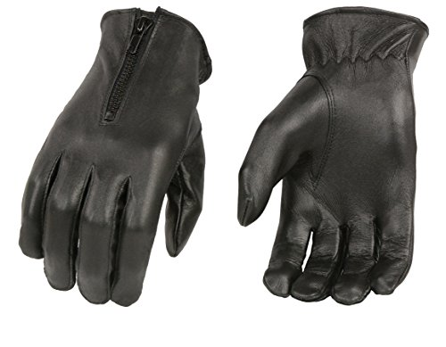 M-BOSS Motorcycle Apparel-BOS37536-BLACK-S-Ladies Unlined Leather Gloves w/Zipper Closure-BLACK-S