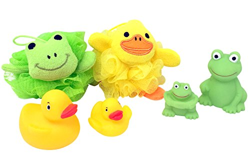 Baby Bathtime Gift Bundle - 4 Items: 1 Duck and 1 Frog Bath Poof, 2 Rubber Ducks and 2 Frogs Tub Toys