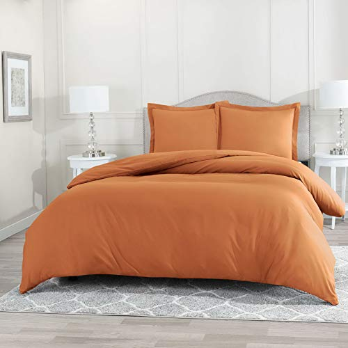 Hemau Premium New Soft 3 Piece Set – Ultra Soft Double Brushed Microfiber Hotel Collection – Comforter Cover with Button Closure and 2 Pillow Sha, Orange - Queen 90