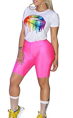 LETSVDO Women's Sexy Bodycon Short Sleeve Crop Top Shorts Sets Club 2 Piece Outfits