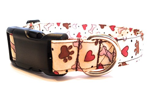 Red Heart and Paw Print Dog Collar Valentine Fabric Adjustable Buckle & D Ring XL L M S XS Mini Puppy Small Extra Large Bone (M- - Bones D-ring