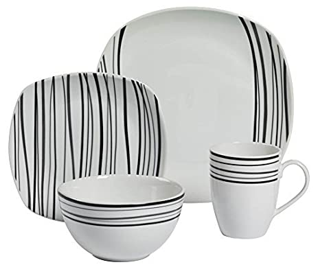 16-Pc Justin Soft Square Dinnerware Set by Tabletops Gallery  sc 1 st  Amazon.com & Amazon.com: 16-Pc Justin Soft Square Dinnerware Set by Tabletops ...