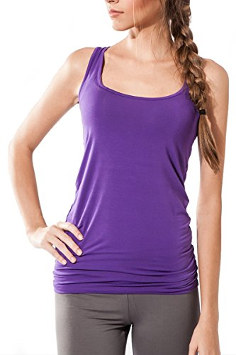 Sternitz Womens Fitness, Maya Top, Perfect for Pilates, Yoga and Any Sport, Bamboo Fabric, Ecological and Soft. Sleeveless. (Large, Purple)