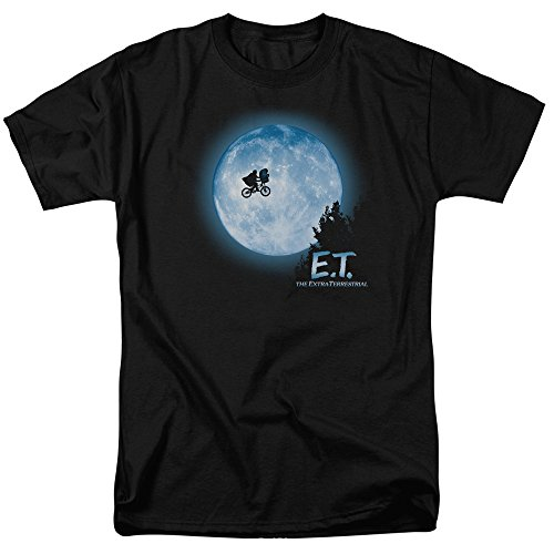 (Trevco Men's {L=Elbow Extra-Terrestrial Short Sleeve T-Shirt, Moon Black)