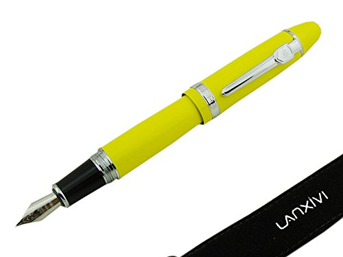 Lanxivi Jinhao 159 Fountain Pen Yellow Color Silver Trim Big Heavy with Pen Pouch