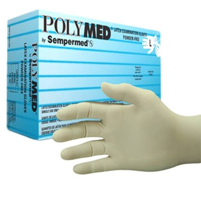Polymed Latex Exam Gloves, Powder Free, Sizes XS-XL ,(100 - 1Box/100) (300 - 3 Boxes/100) (1000 - 10 Boxes/100) (100, XL)