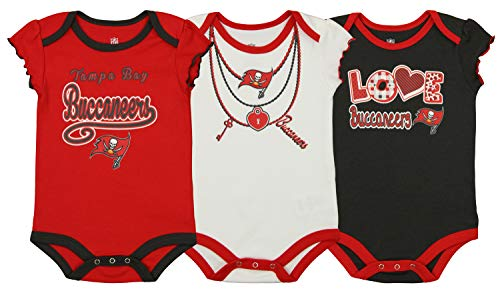 (Outerstuff NFL Newborn and Infant Assorted 3 Pack Creeper Set, Tampa Bay Buccaneers 3-6 Months)