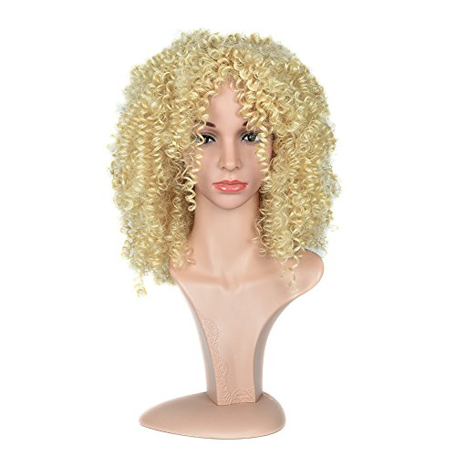 Black Rose Afro Kinky Curly Short Wigs For Black Women Heat Resistant Fiber Synthetic Hairstyle Blonde Curly (Blonde Curly Wig)