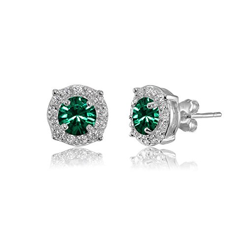 Sterling Silver 5mm Round Green Halo Stud Earrings created with Swarovski Crystals