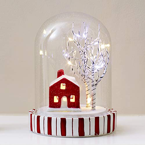 Lights4fun, Inc. Red & White Christmas LED Fairy Light Glass Dome Decoration - Kitchen Fairy Candy