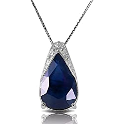 """14K 20"""" White Gold Necklace with Natural Sapphire"""