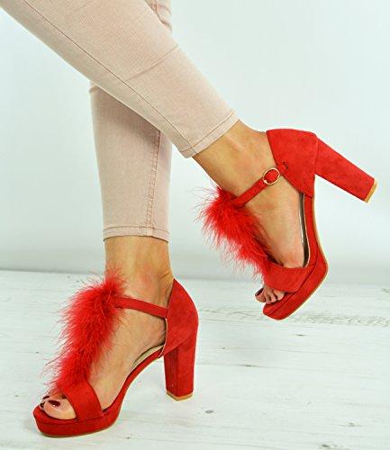 Plattformen Peep Womens Heels Toe Größe Uk Strap Brand Mädchen Damen 3 Schuhe Block Pelz New Rot Ankle Hohe Sandalen 8 Ox5qP4