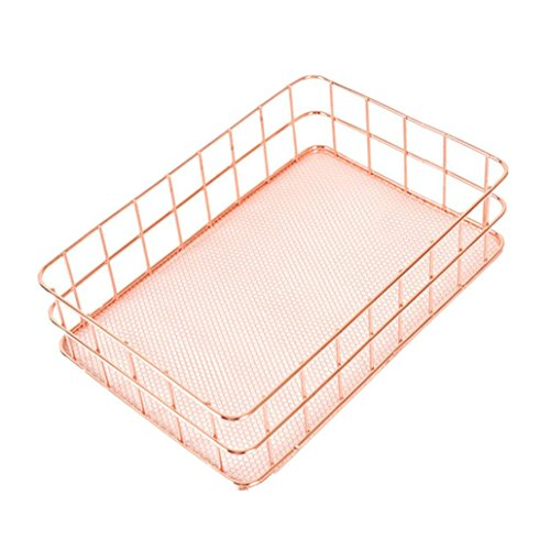 Transer Vintage Desk Metal Mesh Storage Box Organizer for Fruit Small Articles (9.7x6.3x2.6 Inches, Rose Gold) by Transer