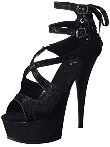 Satin 678lc Delight lace blk Pleaser Uk 36 3eu Blk Matte Jl3cTFK1