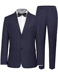 Men's Classic Two Button Suits Slim Fit 2 Pieces/ 3 Pieces Dress Suit Jacket Pants Vest