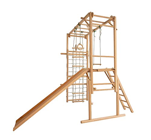 EZPlay Koala Adventure Wooden Climbing Playset Natural Color - 8 Play Features, 2 Way Adjustable Height, Foldable Construction (Kids Age (Natural Jungle Gym)