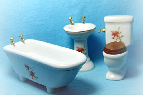 Dollhouse Bathroom Porcelain Tiger Lilly Design KL2357 - Miniature Scene Supplies Your Fairy Garden - Doll House - Outdoor House Decor ()