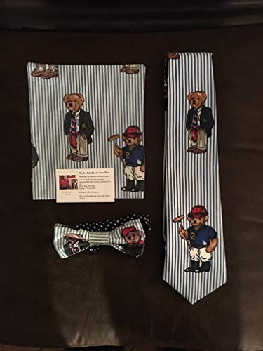 (Polo Bear 3 piece bow tie, necktie and pocket square set)