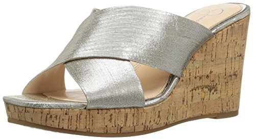 Jessica Simpson Women's SEENA Wedge Sandal, Shimmer Silver, 9 Medium US ()