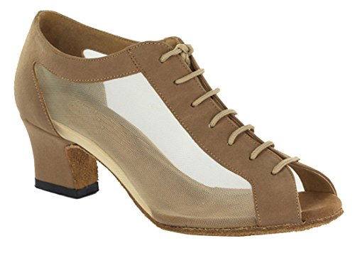Wedding up Dance Lace Brown TDA Tango Shoes Suede Peep Heel Toe Salsa Mid Latin Modern Women's Ballroom wCxIq6