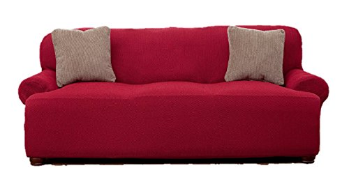 Le Benton Sofa Cover, Stretchable, Beautiful Look, Great Protector, Highest Quality Couch Slipcover, Burgundy (Slipcover Burgundy)