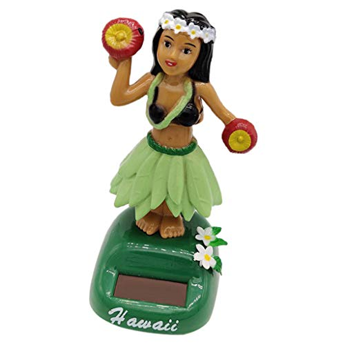 Flameer Novel Solar Powered Hula Hawaiian Girl Model Dancing Swing Figure Doll Bobbing Bobbleheads Toy Hawaii Collectibles Desktop Decor #E