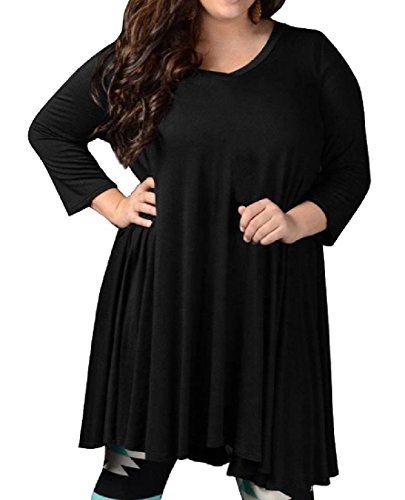 Oversized Womens Pleated Long Line V A Dress Comfy Neck Solid Black Sleeve t0wHq5wdx1
