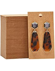 Earring Cards - 200-Pack Earring Card Holder, Earring Display Cards for Ear Studs, Earrings, Kraft Color, 3.5 x 2 Inches