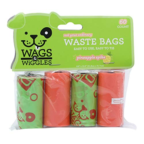 Wags & Wiggles Large Scented Dog Waste Bags | Pineapple Scented Dog Poop Bags | 4 Rolls of Doggie Bags, 60Count, Green…