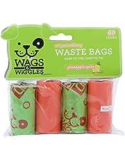 Wags & Wiggles Grote Geurende Hond Afvalzakken   Ananas Geurende Hond Poepzakken   4 Rolls Doggie Bags, 60 Count, Groen/Oranje (FF11137)