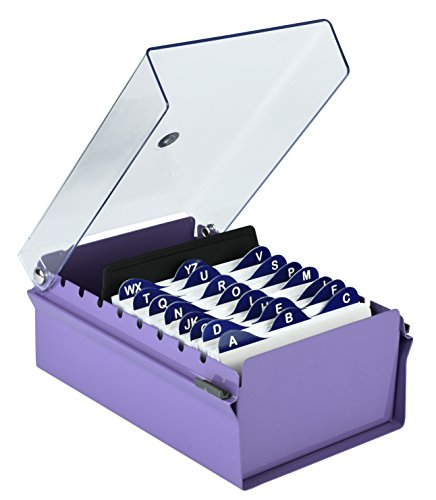 File Index Card (Acrimet 3 X 5 Card File Holder Organizer Metal Base Heavy Duty (Purple Color with Crystal Plastic Lid Cover))