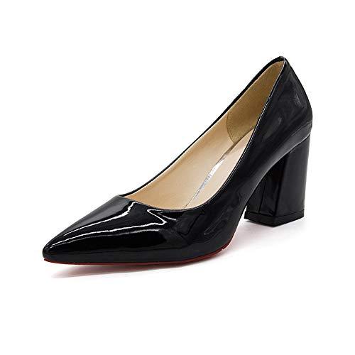 De Cuero Honor Solos alto tacón Súper zapatos Charol Dama de Mujeres Black Puntiagudo Tacón Zapatos De Grueso Femeninos Yukun Zapatos Súper Alto con De Mujer BqfFHH