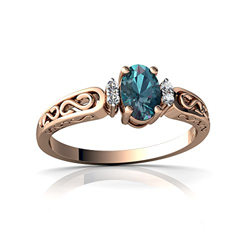 Lab Created Alexandrite Ring - 14kt Rose Gold Lab Alexandrite and Diamond 6x4mm Oval filligree Scroll Ring - Size 8