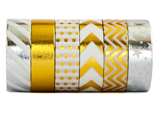 Stars Design Case Silver (Gold Washi Colored Decorative Masking Paper Tape - Premium Quality Repositionable & Writable - 6 Rolls Set (15mm x 10m) - Gold & Silver - by Washi.Design (Silver Gold))