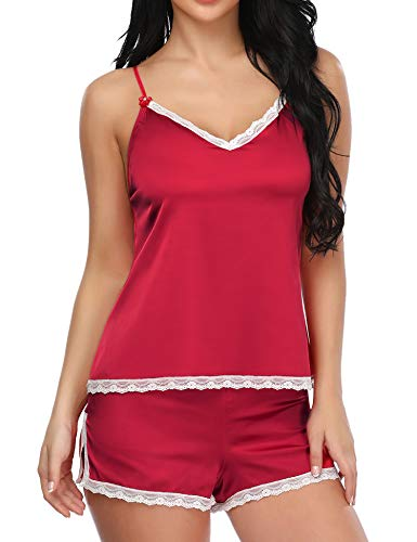 LALAVAVA Sexy Sleepwear Womens Satin Cami Pajama Sets Shorts Lace Nightwear (Lace Trim Red, S) (Lace Baby Doll Satin Bow)