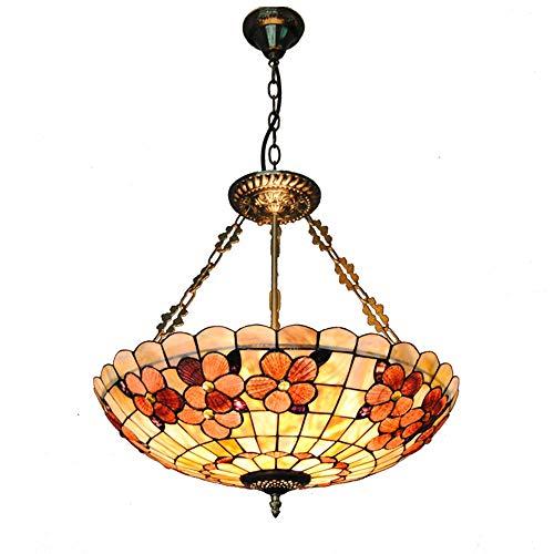 Scope 4 Light Pendant - Bedroom Lamp Ceiling Pendant Light 20 inch Tiffany Style Retro Chandelier Fitting Meals Stained Glass Lamp for Living Room E27 85-260v