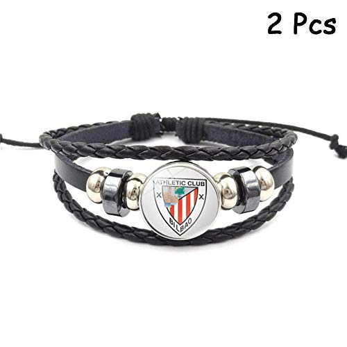 FANwenfeng Retro La Liga Soccer Club Badge Beaded Woven Leather Bracelet  Football Sport Wristband Fans 2 673cd92666dbd