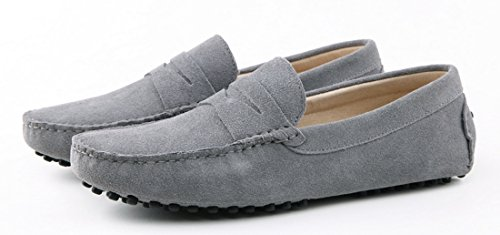 TDA Mens Stripe Multi Color Hot Suede Moccasin Loafers Boat Shoes Grey aPlLnDtnTn