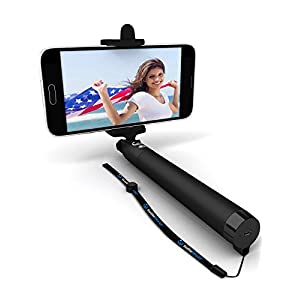 Premium 5-In-1 Bluetooth Selfie Stick (Powered by USA Technology) For iPhone X, 8, 7, 6, 5, Samsung Galaxy S8, S7, S6, S5 - Get Perfect Selfies - No Apps, No Batteries, No Downloads Required
