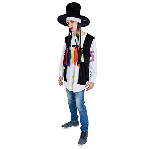 Charm Rainbow Men's 80's Costume Pop Star Cosplay for Halloween Theme ()