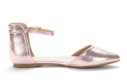 DREAM PAIRS FLAPOINTED Frauen Casual D'Orsay wies Plain Ballett Comfort Soft Slip auf Wohnungen Schuhe neu Knöchel-Champagner