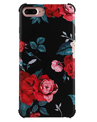 (Case for iPhone 8 Plus,Case for iPhone 7 Plus Cute Flower for Girls Women Slim Fit Full Protection TPU Floral Case for iPhone 7plus/8plus,Black)