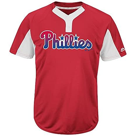 Majestic Blank Back Adult 2XL Philadelphia Phillies 2-Button Placket  Cool-Base MLB Licensed c63a6bf19be