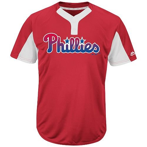 Majestic Blank Back Adult XL Philadelphia Phillies 2-Button Placket Cool-Base MLB Licensed Jersey